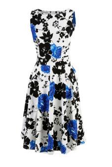Fancyqube Floral Print Maxi Dresses Women Beach Long Print Dress White Blue