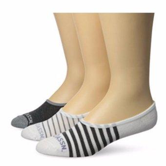 Bộ 3 đôi tất nam U.S. Polo Assn. Men's 3 Pack Toe Stripe Liner Sock (Trắng/đen/xám) (Mỹ)