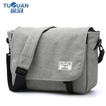 Lan-store Premium Quality Male Bag--Classic Messenger Bag Men Denim Laptop Bag Tablet Shoulder Crossbody Bag For IPad Pro/Macbook/Ultrabook 13 Inches (Grey) - intl