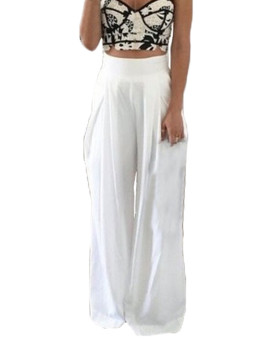 Hot Women Sexy Party Cocktail High Waist Casual Chiffon Wide Leg Pants Trousers WHITE - intl