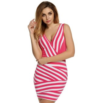 Cyber Finejo Ladies Women Fashion Sexy V-neck Black And White Stripped Slim Party Dress (Rose Red) - Intl
