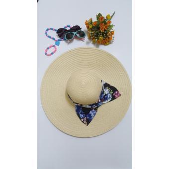 Mũ đi biển vành rộng nơ hoa (Kem)