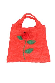 Cute 1Pc Rose Flowers Reusable Folding Shopping Bag Travel Grocery Red - Intl
