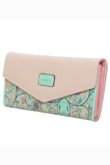 Bluelans Women Trifold Envelope Faux Leather Wallet Button Purse Zip Bag Green (Intl)