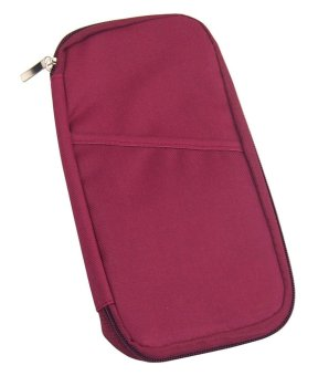 niceEshop Travel Wallet With Closure Zip Document Organiser Passport Ticket Holder Wine Red