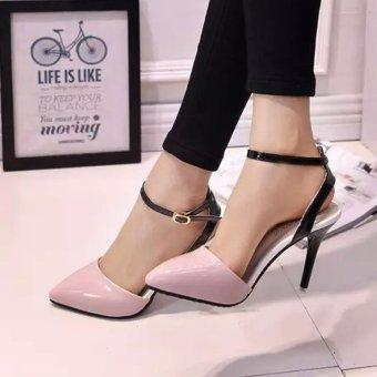 Giày cao gót da bóng phối màu 119 (Hồng)