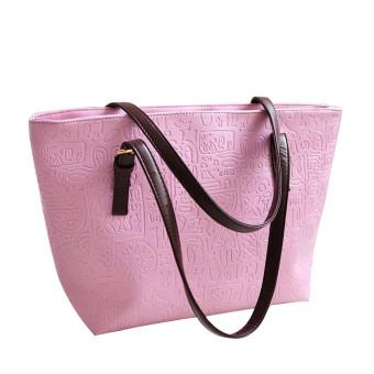 Simple Winter Larger Capacity Leather Women Bag Shoulder Bag Pink