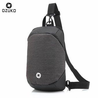 OZUKO Unisex Chest Pack Messenger Bag Creative Anti-theft Bag Oxford Shoulder Bag Casual Fashion Crossbody Bags (Grey) - intl