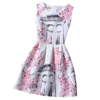 Women Ball Gown Dress A-Line Floral Pattern (Red) - intl