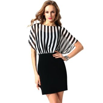 Cyber Finejo Women O-Neck Striped Chiffon Patchwork High Waist Pencil Mini Dress OL Ladies - Intl