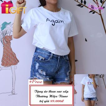 Áo Thun Nữ Tay Ngắn In Hình Again Dễ Thương Tiano Fashion LV070 ( Màu Trắng ) + Tặng Áo Thun Nữ Tay Ngắn In Hình Paolaeeya - Hạt đậu Phong Cách Tiano