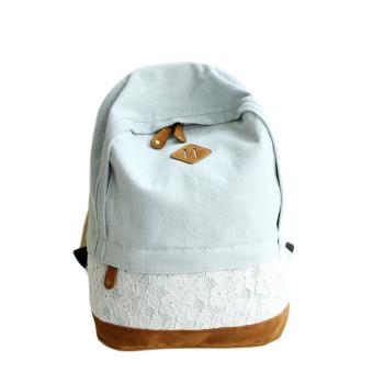 Fashion Lace Denim Women Canvas Backpack Schoolbag Light Blue
