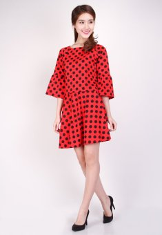 Set Váy Và Áo Chấm Bi Thời trang Hoàng Khanh-HK 23 (Đỏ)