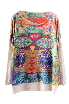 Bluelans Women Owl Loose Batwing Sleeve Crew Neck Pullover Christmas Knitwear (Intl)