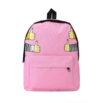 New Men Women Canvas Backpack Capacity Student School Bag Unisex Outdoor Casual Bag Pink - Intl