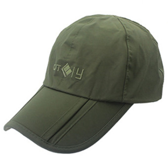 Unisex Portable Foldable Waterproof Adjustable Pure Color Plain Sport Baseball Hat Cap with Wind Protection Clip Army Green - intl