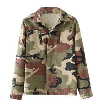 Fashion Women Camouflage Jacket Outerwear Coat - intl