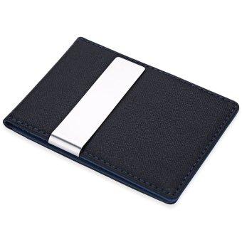 JINBAOLAI Unisex Short Hard Money Clip Open Horizontal PU Leather (Deep Blue) - intl