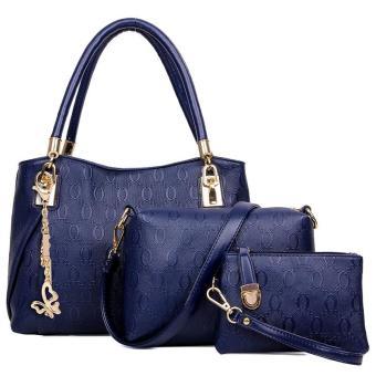 Women 3pcs Tote Bag PU Leather Handbag Purse Bags Set - intl