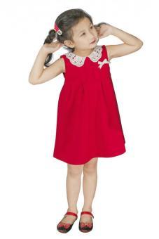 Đầm Thun Đỏ Cổ Dệt Trắng Genii Kids (Đỏ)