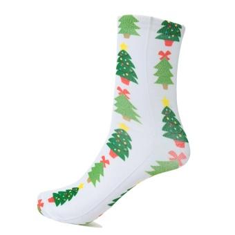 Fashion Women Christmas Socks Santa Claus Snowman Gift Casual Festive Printed Cotton Socks Hosiery #3 - intl