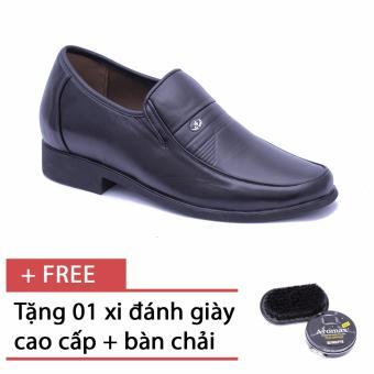 Giày da thật công sở tăng chiều cao Smartmen GK-96 (Đen), tặng kèm bàn chải và xi đánh giày cao cấp