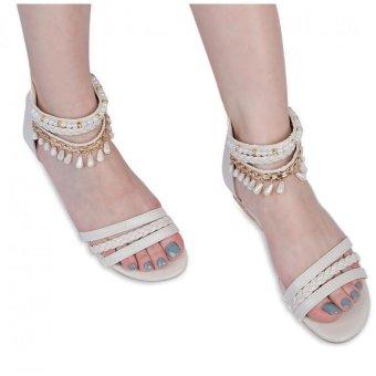 Summer Ladies Bohemia Heeled Sandals Gladiator Weave Hollow Beading (Off-White) - intl