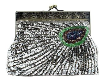 niceEshop Women's Retro Exquisite Peacock Pattern Beaded Evening Party Wedding Handbag Silver