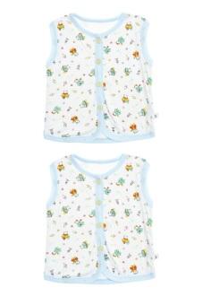 Bộ 2 áo khỉ bông trẻ em Nanio A0002-2Xn (Xanh Nhạt)