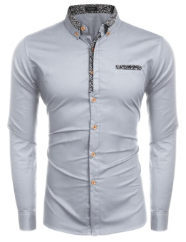 Cyber Men Slim Fit Turn Down Collar Long Sleeve Button Down Casual Shirts ( Light Grey ) - intl