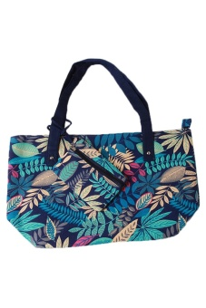 LALANG Women Leaf Print Handbag Retro Shoulder Bags Blue
