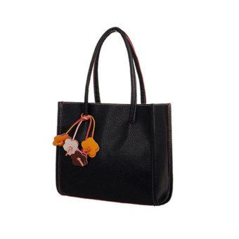 Fashion girls handbags leather shoulder bag candy color flowers totes Black - intl