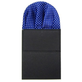 Classic Men's Suit Wedding Pocket Square Folded Handkerchief Holder Dot Design for Bridegroom Groomsman Royal Blue - intl