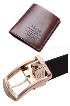 Bộ ví da nam Feger và dây lưng 2 mặt Goldlion DT1615