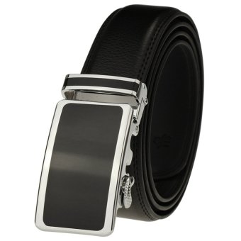 Mens Automatic Buckle Leather POP Belts 125cm K112 (Black) - intl