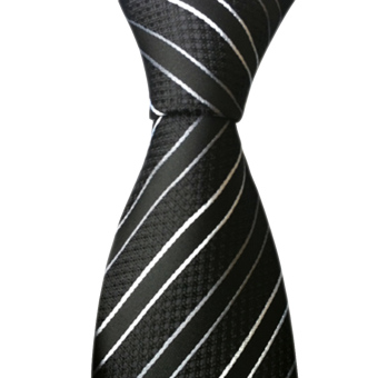 New Classic Striped Black White JACQUARD WOVEN Silk Men's Tie Necktie - intl