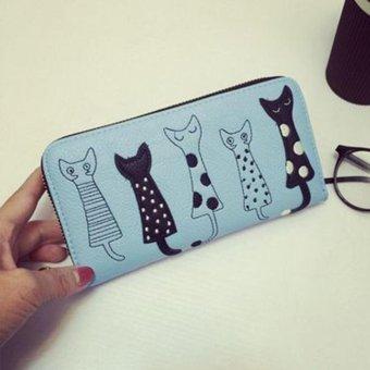 Moonar Women Cartoon Cat Pattern Long PU Leather Wallet Multilayer Zipper Purse (Blue) - intl