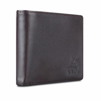Bộ ví và thắt lưng nam da bò thật LAKA nâu trơn + Tặng 01 thắt lưng nam da bò LAKA (Nâu vân cá sấu) trị giá 300000