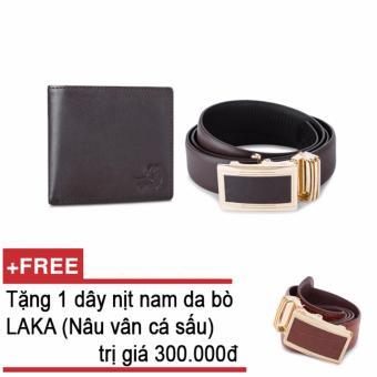 Mua Bộ ví và thắt lưng nam da bò thật LAKA nâu trơn + Tặng 01 thắt lưng nam da bò LAKA (Nâu vân cá sấu) trị giá 300000 giá tốt nhất