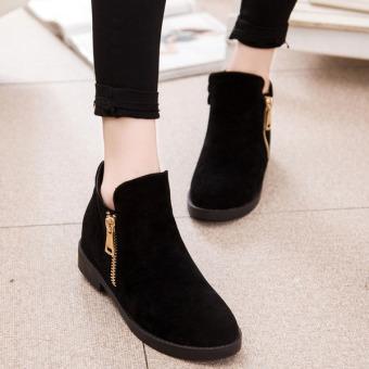 Giày boot dây cổ thấp dây kéo bên hông (Đen)