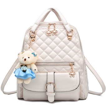 Women Ladies 3 in 1 PU Leather Casual Outdoor Travel Tablet Bag Handbag Backpack Shoulder Bag with Bear Pendant and Petal Shape Zipper Beige