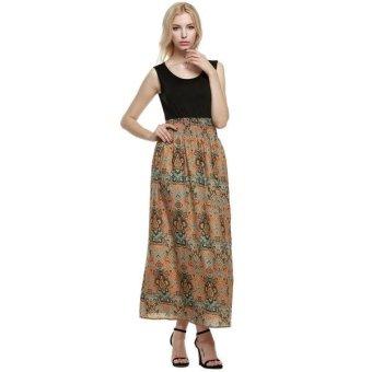 Sunweb Finejo Women Ladies Sleeveless Bohemia Style Maxi Dress High Waist Print Party Beach Slim Long Dress ( Black ) - intl
