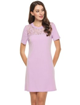 Linemart Women Casual O-Neck Short Sleeve Lace Hollow Out Patchwork Elastic Dress ( Lavender ) - intl