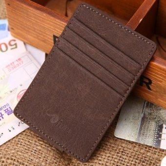 Men Leather Card Cash Receipt Holder Organizer Magnet Wallet Purse Free Shipping - intl