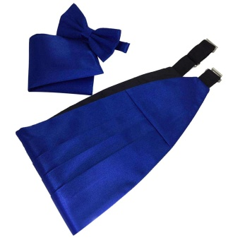 Men Satin Cummerbund Bowtie Hanky Handkerchief Set with Gift Box for Wedding Musical Band Graduation Celebration Blue - intl