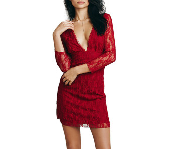 Zaful Women Prom Lace Dress V-neck Design (Wine Red) - Intl--TC