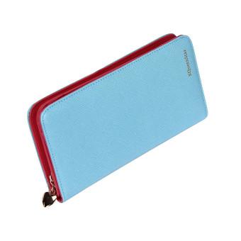 Women Fashion Leather Bifold Wallet Blue