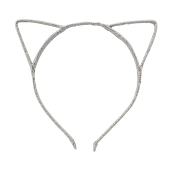 Fashion Headband Hair Band Headwear Hair Clip Cat Ears Design Women Girls Accessories Silver