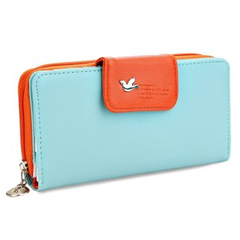 Bird Letter Water Drop Leaf Color Block Zipper Snap Fastener Wallet(Green) - intl