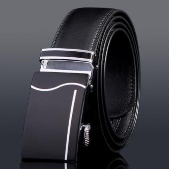Thắt lưng nam da bò thật Flancoo 9961 (Khóa đen bạc)